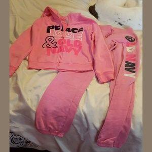 Old Navy Girls large pink sweatsuit